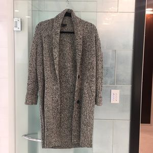 Long black and white tweed sweater coat